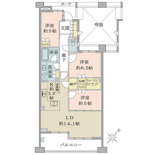 ブリリア新宿余丁町の間取図/2F/9,480万円/3LDK+N+W/79 m²