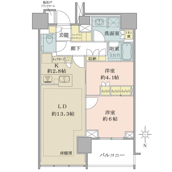 ブリリアタワー代々木公園クラッシィの間取図/13F/10,800万円/2LDK+SIC/64.45 m²