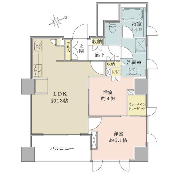 ブリリア砧公園の間取図/3F/4,990万円/2LDK+WIC/56.42 m²