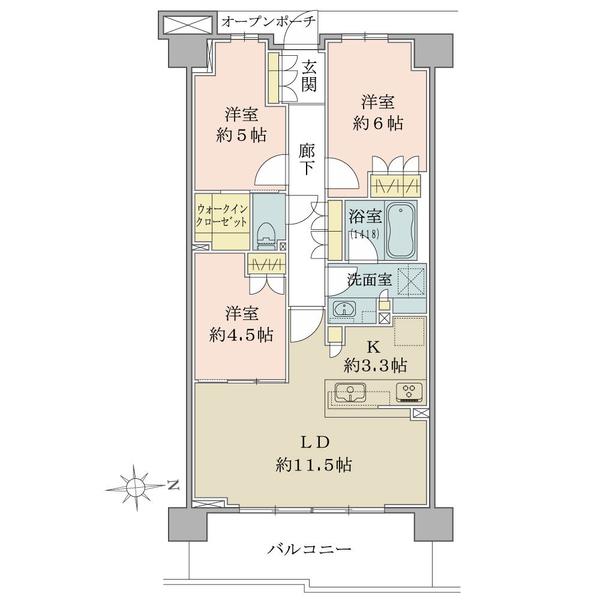 70.98㎡/3LDK+WIC/5階/東向き