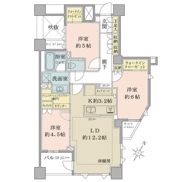ブリリア東中野パークサイドヒルズの間取図/3F/10,990万円/3LDK/76.98 m²