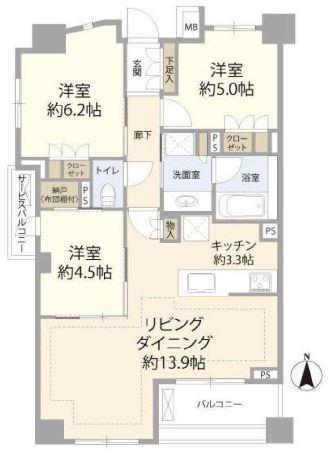 ブリリア中野の間取図/4F/8,780万円/3LDK/71.09 m²