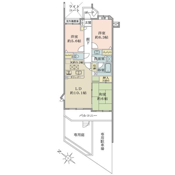 グランヴェール国分寺弐番館の間取図/1F/3,280万円/3LDK/71.77 m²