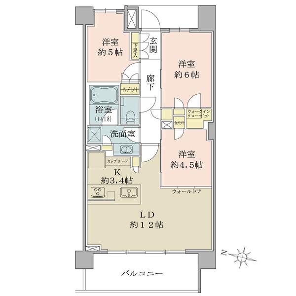 Brillia弦巻の間取図/6F/9,680万円/3LDK+W/68.67 m²