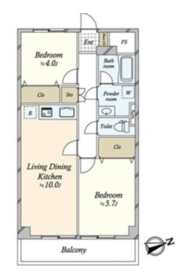 上町マンションの間取図/6F/3,780万円/2LDK/50.76 m²