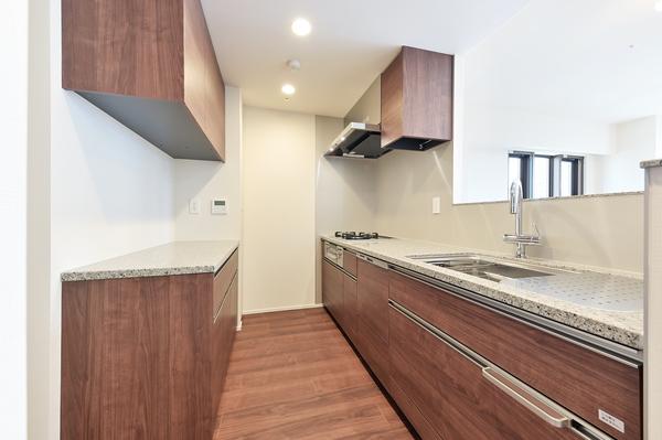 開放感のある対面式キッチン。食器洗浄乾燥機・ディスポーザー付きです。