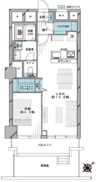 ニューハイツ大森の間取図/1F/2,998万円/1LDK/45.95 m²