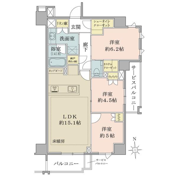 ブリリア久が原の間取図/5F/7,380万円/3LDK+CC+SIC+N/72.75 m²