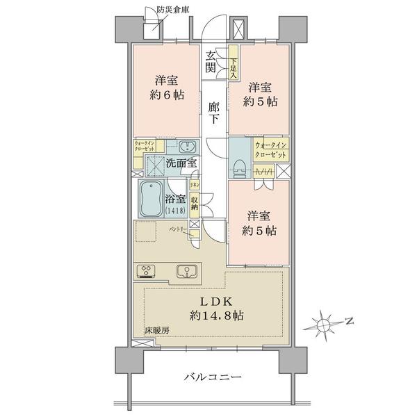 ブリリア品川南大井の間取図/4F/6,160万円/3LDK/70.23 m²