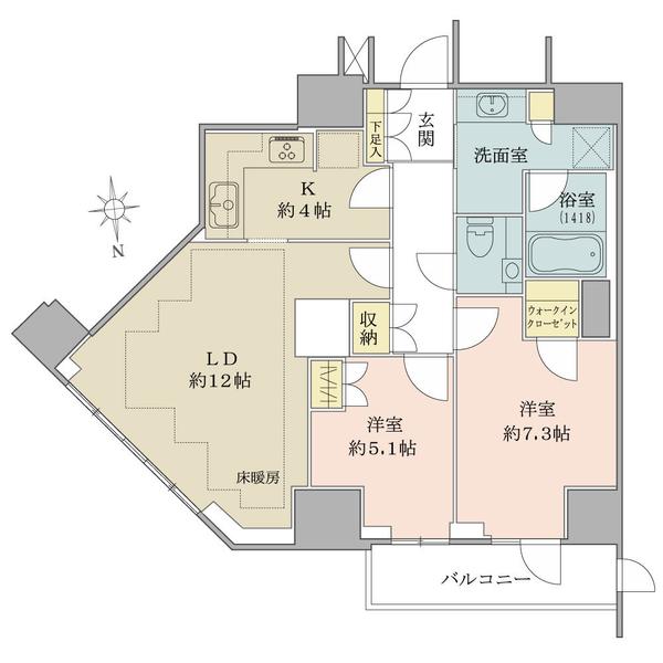 ルネッサンスタワー上野池之端の間取図/10F/8,900万円/2LDK/68.61 m²