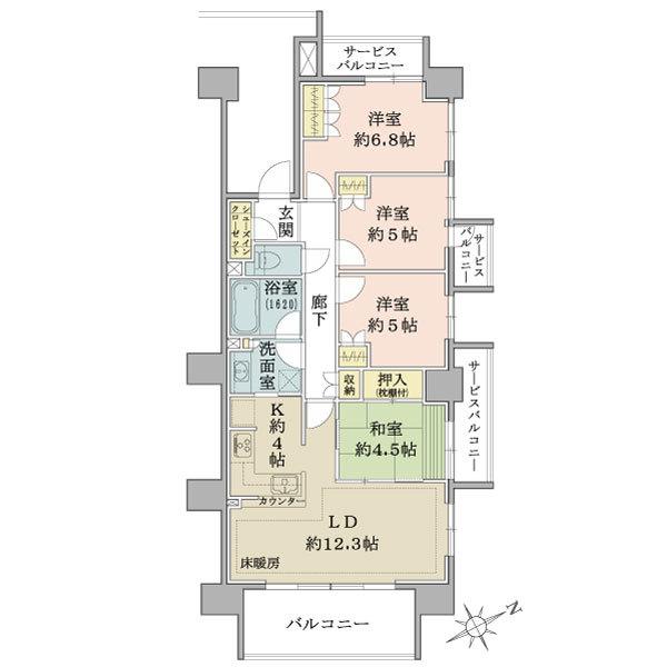 ブリリア小田急相模原の間取図/12F/3,680万円/4LDK/84.68 m²