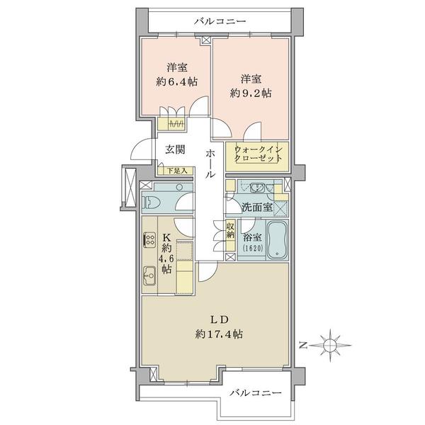 ブリリア小日向の間取図/4F/10,950万円/2LDK+W/91.45 m²