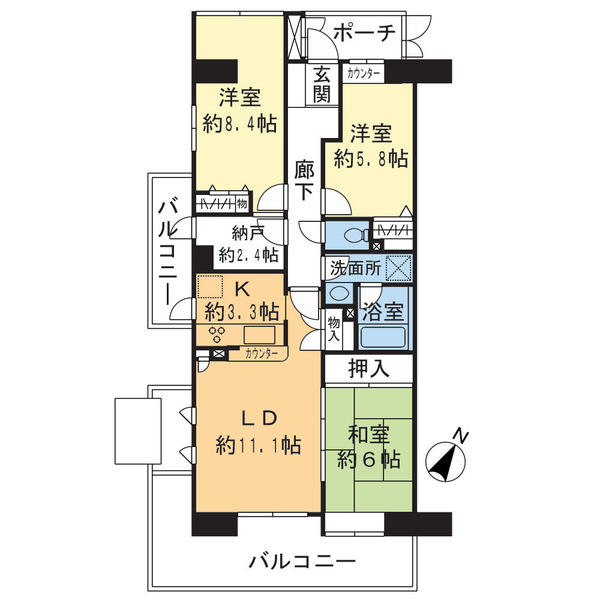 プランヴェール横須賀汐入Ⅲ号棟の間取図/8F/1,980万円/3LDK+納戸/83.57 m²