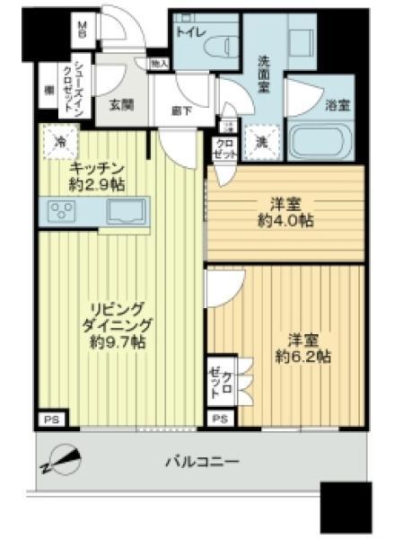 ブリリアタワーズ目黒サウスレジデンスの間取図/20F/12,500万円/2LDK/54.64 m²