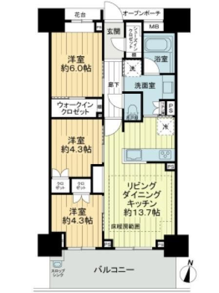 Brillia武蔵中原の間取図/13F/4,980万円/3LDK/67.47 m²