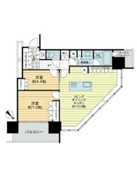 BrilliaGrandeみなとみらいパークフロントタワーの間取図/19F/6,280万円/2LDK/64.15 m²