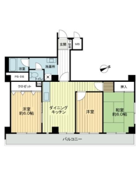 東建北寺尾ハイツの間取図/6F/1,480万円/3DK/63.5 m²