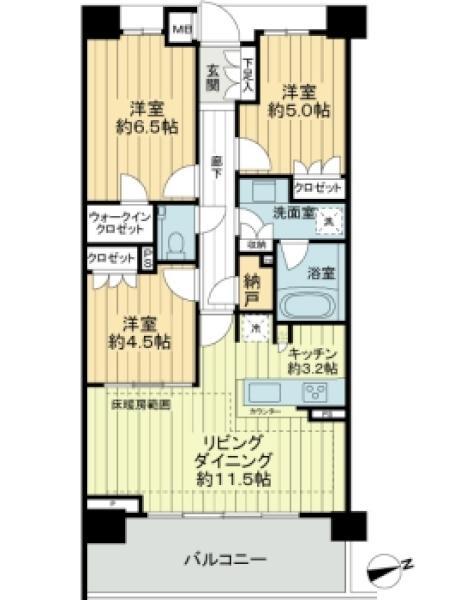 クレヴィア蘆花公園の間取図/2F/4,850万円/3LDK/70.06 m²