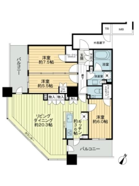 ブリリア有明スカイタワーの間取図/26F/9,250万円/3LDK/93.55 m²