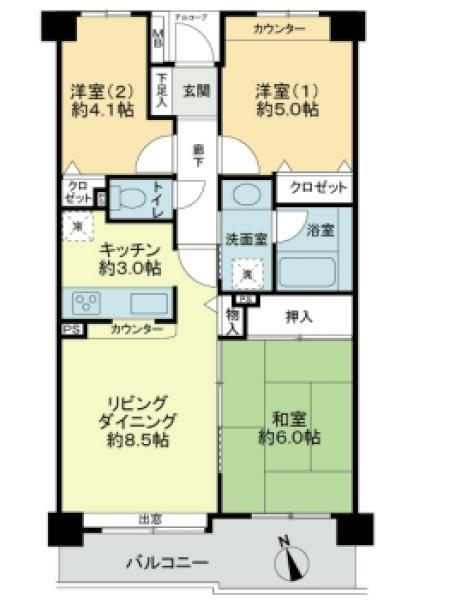 プランヴェール戸田公園の間取図/6F/2,390万円/3LDK/59.53 m²