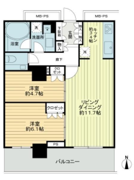 BrilliaTower大崎の間取図/7F/5,480万円/2LDK/60.02 m²