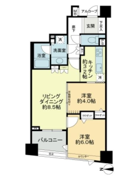 アールヴェール新宿弁天町の間取図/6F/4,280万円/2LDK/51.91 m²
