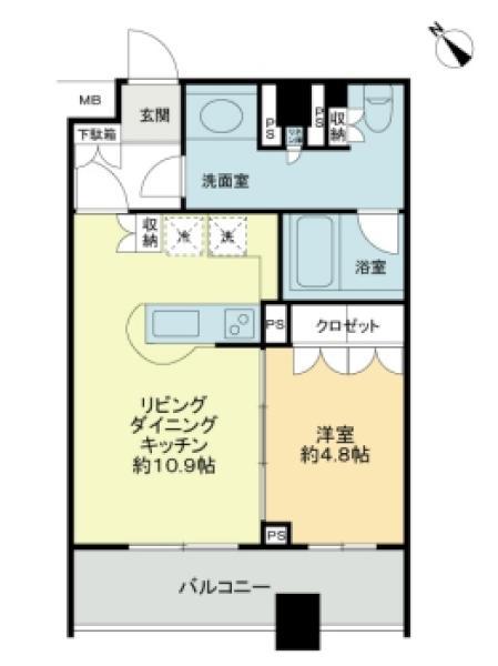ウィズウィース渋谷神南N棟の間取図/4F/4,450万円/1LDK/41.64 m²