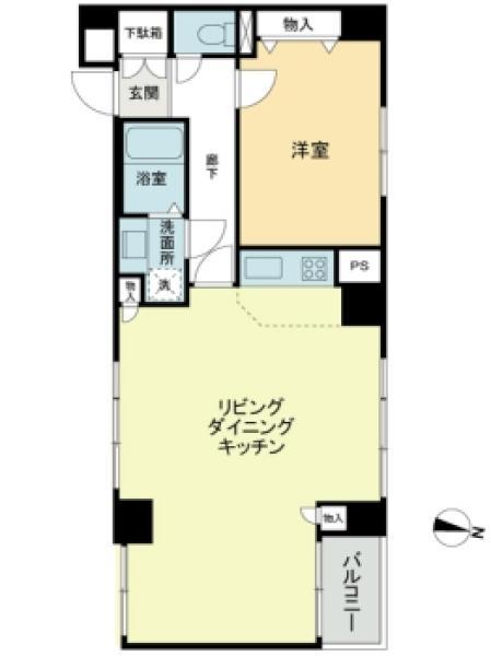 東建ニューハイツ市ケ谷の間取図/3F/3,980万円/1LDK/57.67 m²
