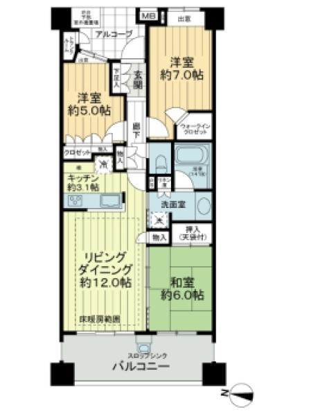 ネクサスシティコンフォートテラスの間取図/3F/3,680万円/3LDK/74.78 m²