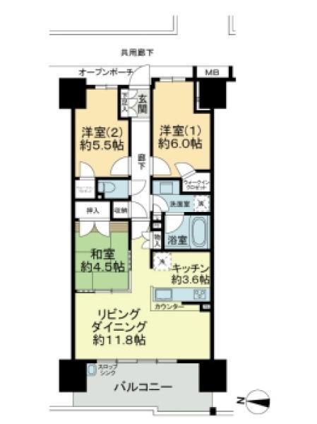 Brillia越谷レイクタウンの間取図/5F/3,180万円/3LDK/70.97 m²