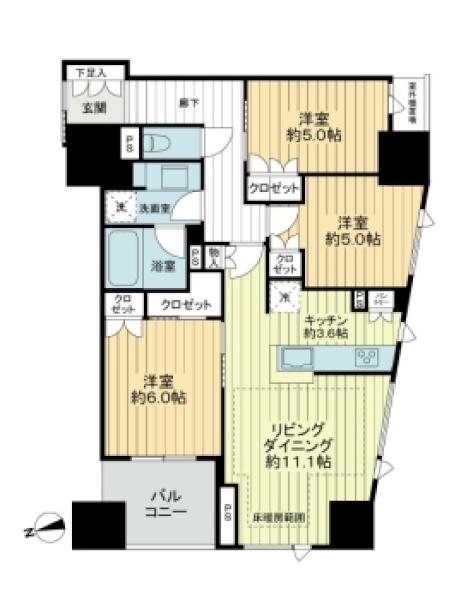 Brillia山手動坂グランスイ-トの間取図/3F/6,380万円/3LDK/73.56 m²