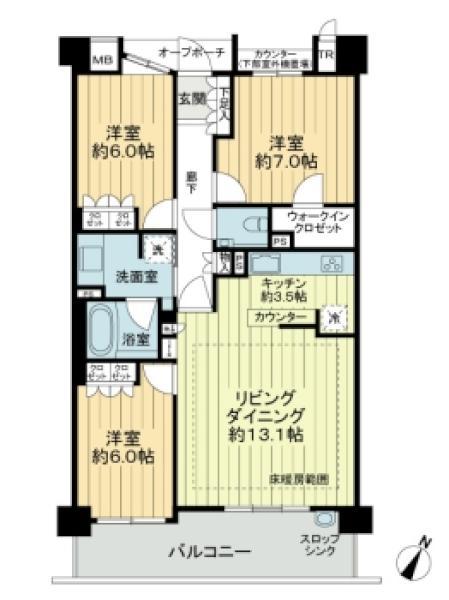 Brillia瑞穂岳見町の間取図/4F/3,380万円/3LDK/81.39 m²