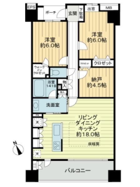 エムステージ・イースティアの間取図/7F/5,590万円/2SLDK/77.31 m²