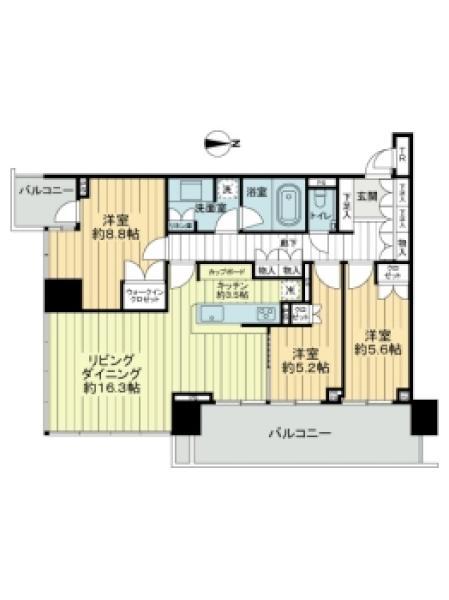 ベイズ タワー&ガーデンの間取図/12F/9,800万円/3LDK/93.81 m²
