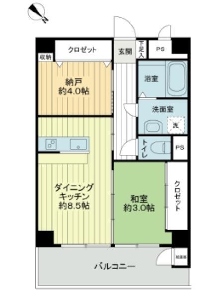 東建池袋要町マンションの間取図/1F/1,860万円/1SDK/38.88 m²