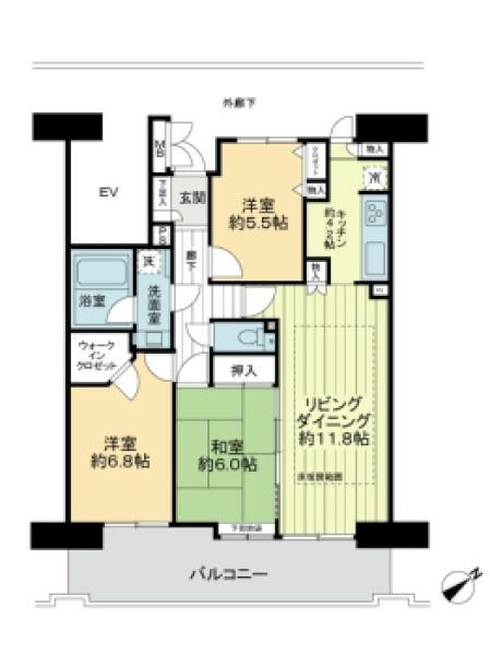プランヴェール横須賀汐入3号棟の間取図/12F/1,680万円/3LDK/78.09 m²
