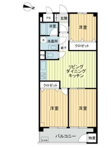 東建西ヶ丘マンションの間取図/8F/2,680万円/3LDK/58.86 m²