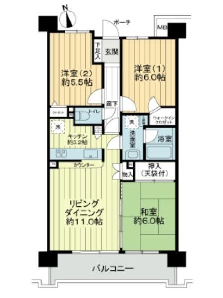 プランヴェール西台の間取図/7F/3,280万円/3LDK/68.4 m²