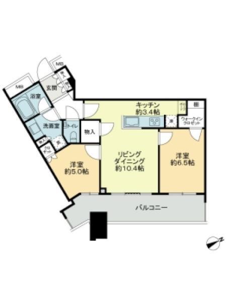 スカイズ タワー&ガーデンの間取図/29F/6,170万円/2LDK/60.34 m²