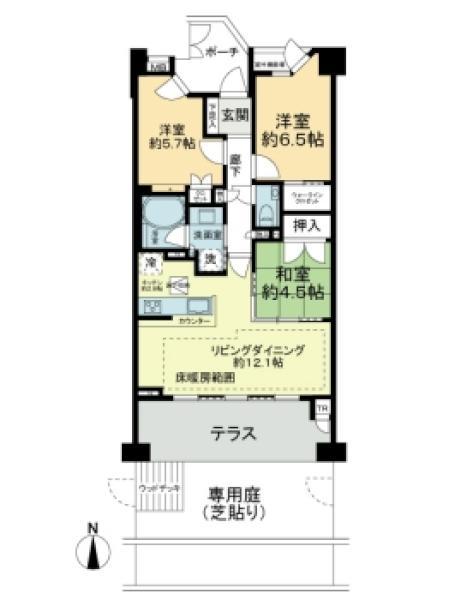 Brilliaヒルズ宮前平の間取図/1F/4,980万円/3LDK/71.08 m²