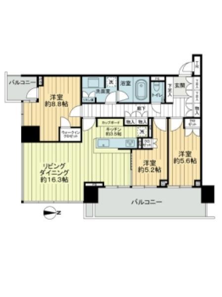 ベイズ タワー&ガーデンの間取図/12F/9,480万円/3LDK/93.81 m²