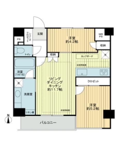 東建島津山南ハイツの間取図/9F/3,980万円/2LDK/51.04 m²