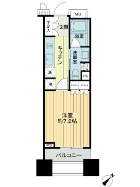 Brillia銀座idの間取図/13F/4,500万円/1K/26.69 m²