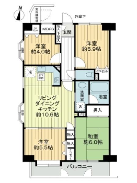 プランヴェール新川崎の間取図/1F/2,680万円/4LDK/72.03 m²