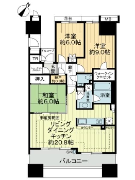 ガーデンアソシエC棟の間取図/12F/5,980万円/3SLDK/91.12 m²