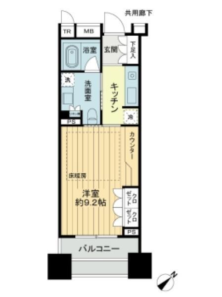Brillia銀座idの間取図/14F/4,980万円/1K/30.2 m²