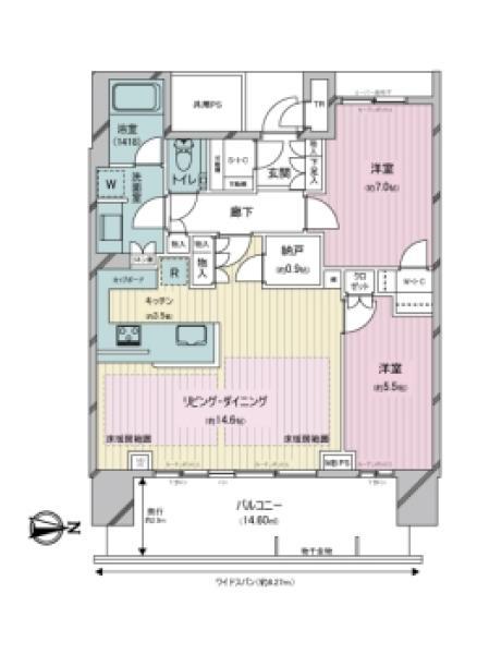 ベイズ タワー&ガーデンの間取図/8F/7,190万円/2LDK/72.6 m²