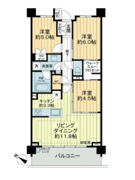 Brillia横浜鶴ヶ峰の間取図/5F/4,680万円/3LDK/70.16 m²