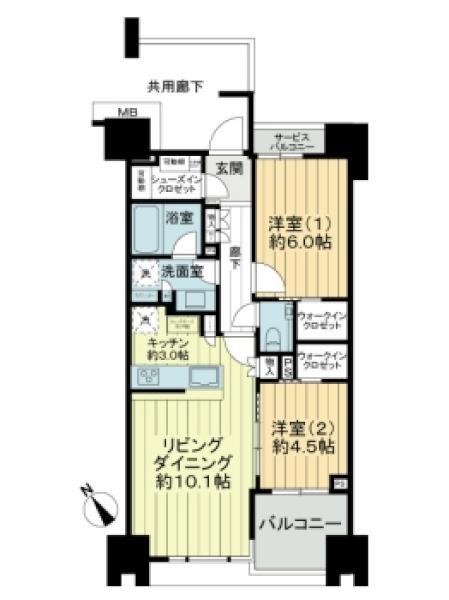 ザ・マジェスティコート目黒の間取図/2F/7,280万円/2LDK/58.5 m²