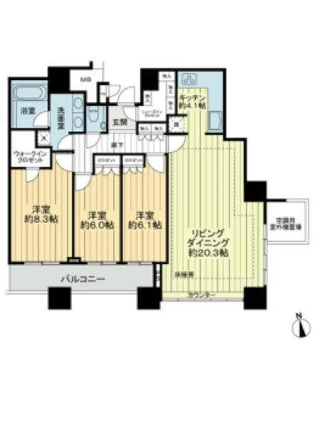 THE TOWERS DAIBAの間取図/18F/11,900万円/3LDK/102.02 m²